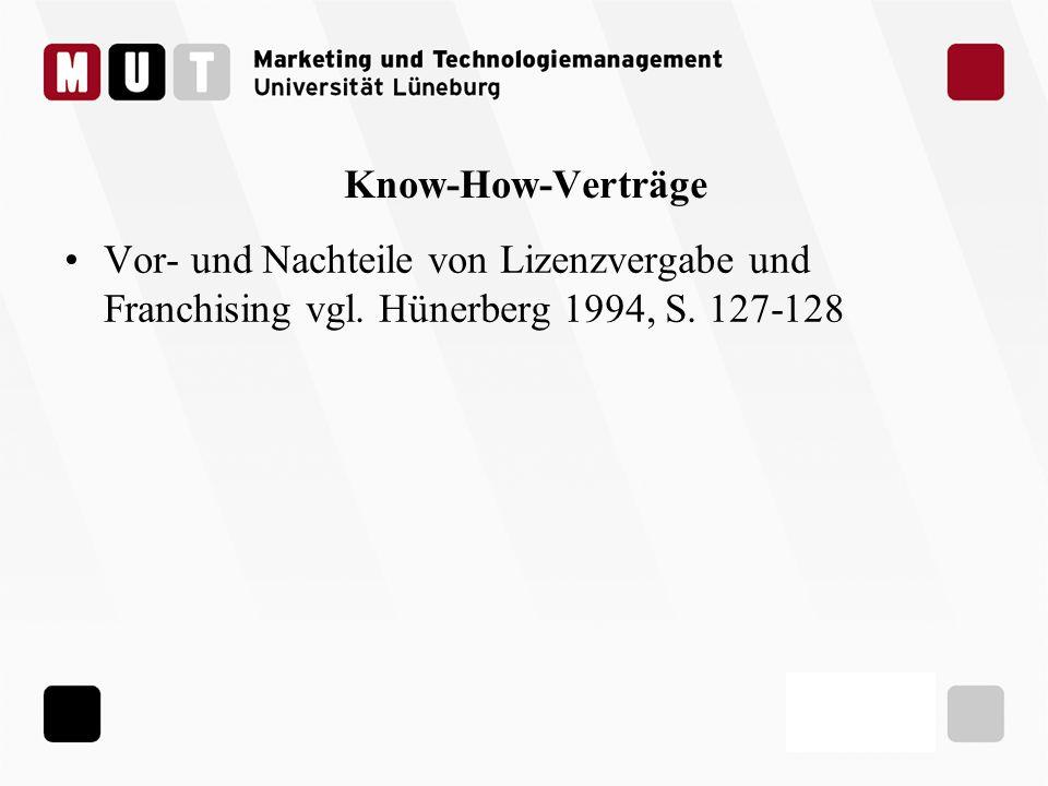 Know-How-Verträge Vor- und Nachteile von Lizenzvergabe und Franchising vgl.
