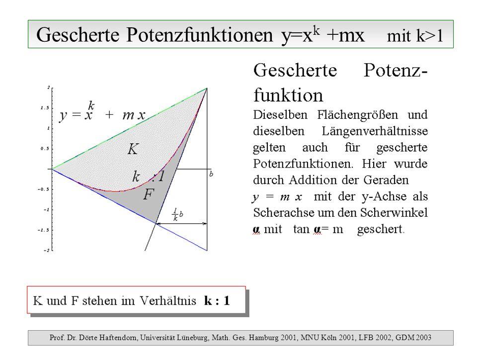 Gescherte Potenzfunktionen y=xk +mx mit k>1