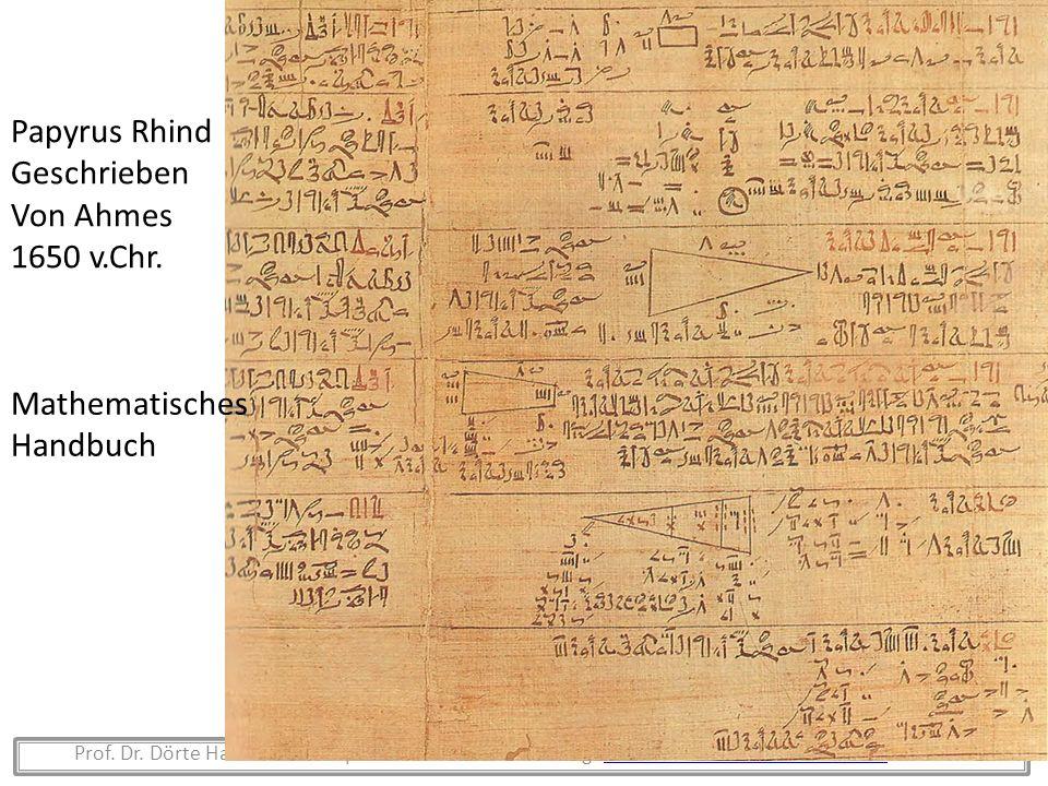 Papyrus Rhind Geschrieben Von Ahmes 1650 v.Chr. Mathematisches