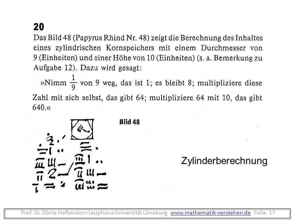 Zylinderberechnung Prof. Dr.