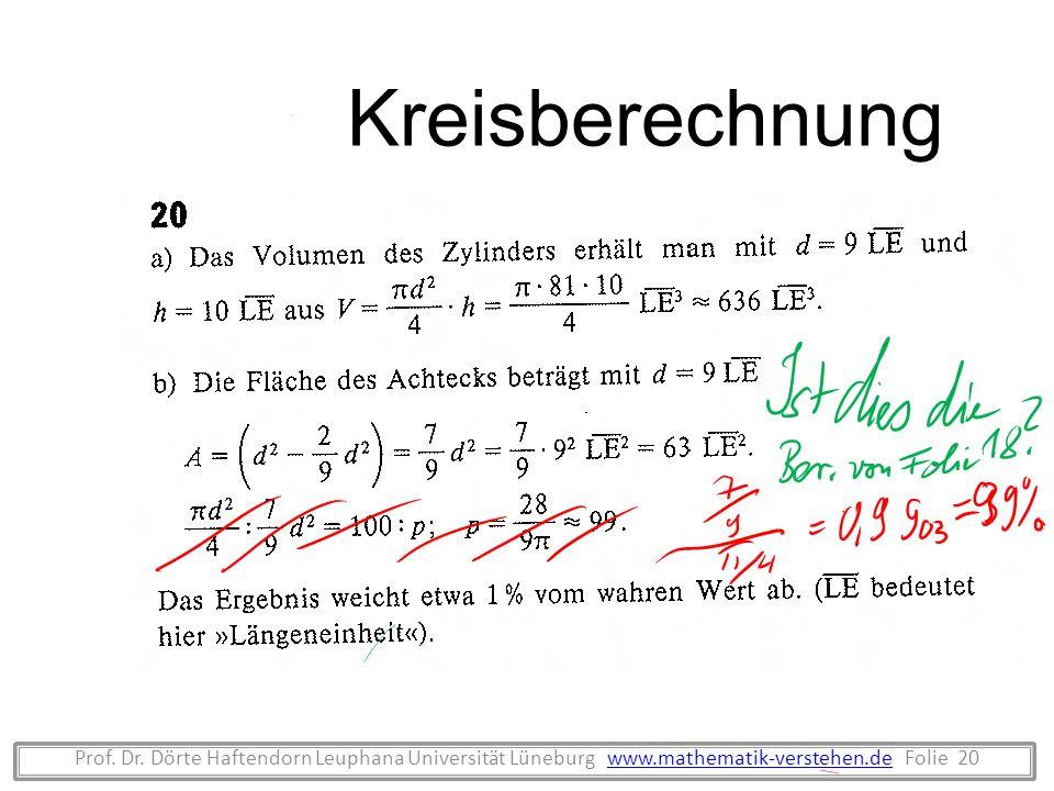 Kreisberechnung Prof. Dr.