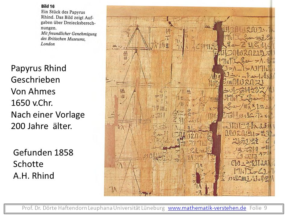 Papyrus Rhind Geschrieben Von Ahmes 1650 v.Chr. Nach einer Vorlage