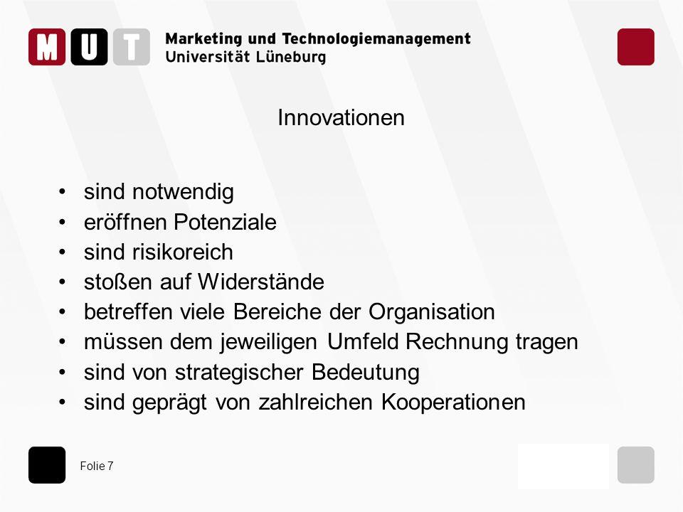 Innovationen sind notwendig. eröffnen Potenziale. sind risikoreich. stoßen auf Widerstände. betreffen viele Bereiche der Organisation.