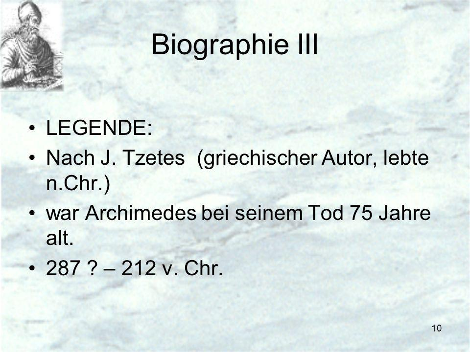 Biographie III LEGENDE: