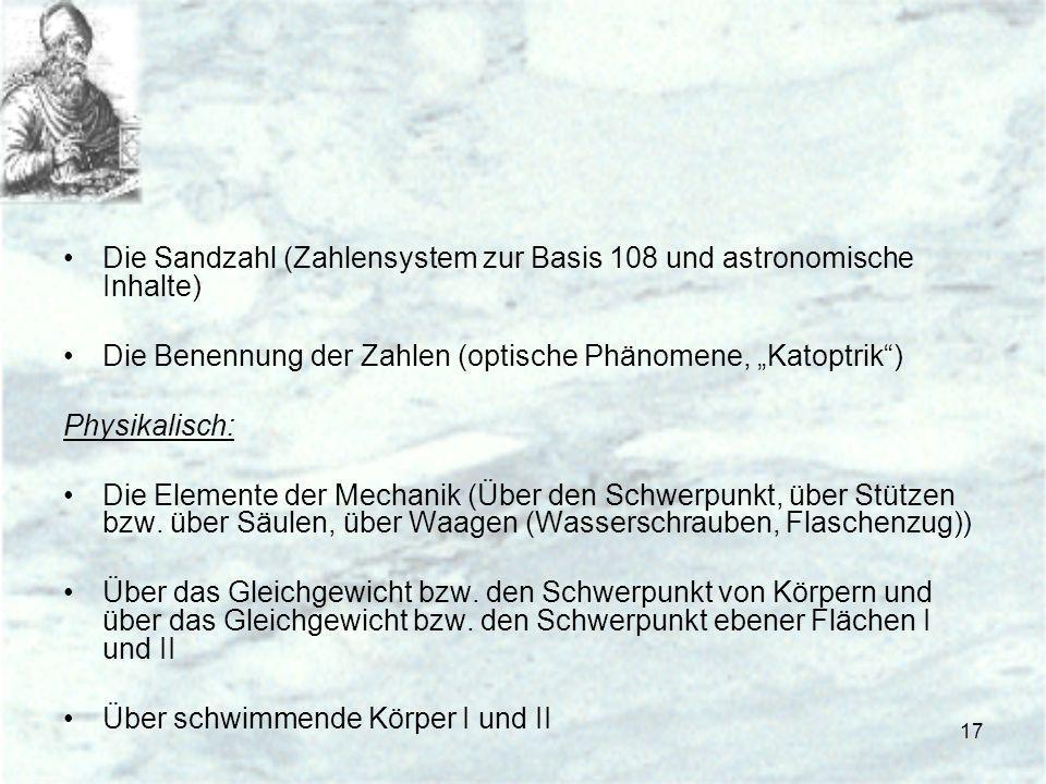 Die Sandzahl (Zahlensystem zur Basis 108 und astronomische Inhalte)