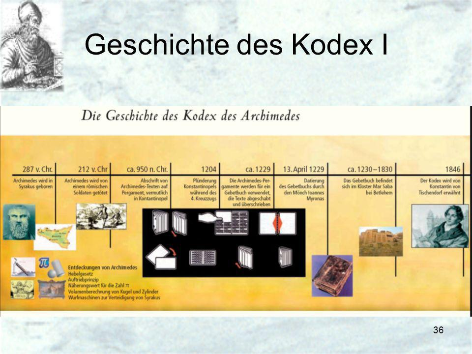 Geschichte des Kodex I