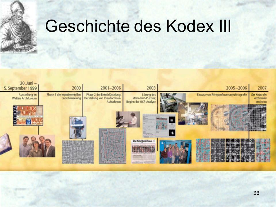 Geschichte des Kodex III