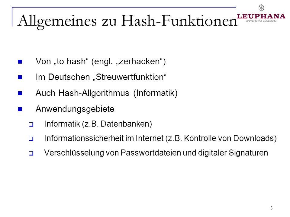 Allgemeines zu Hash-Funktionen
