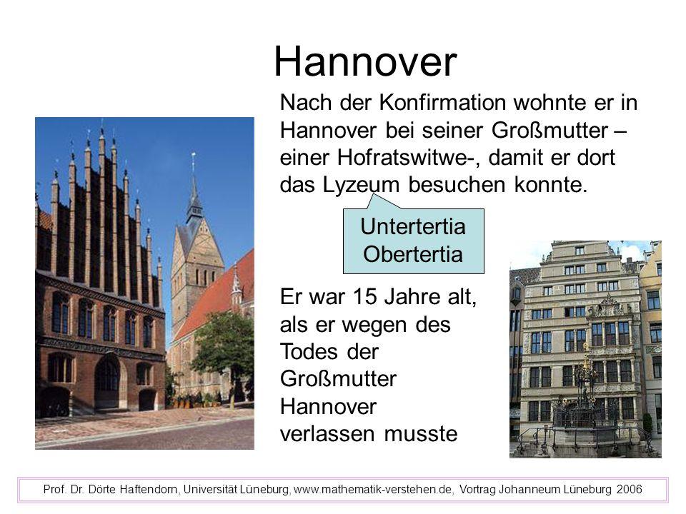 Hannover Nach der Konfirmation wohnte er in Hannover bei seiner Großmutter –einer Hofratswitwe-, damit er dort das Lyzeum besuchen konnte.