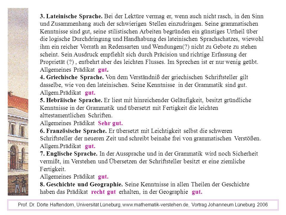 Allgemeines Prädikat Sehr gut.