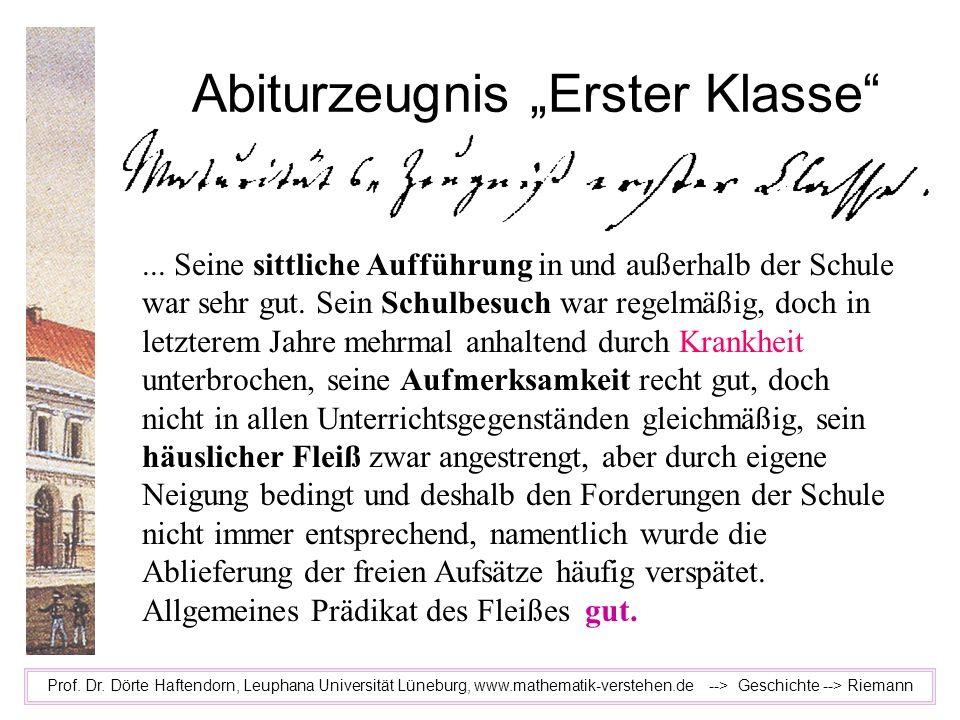 "Abiturzeugnis ""Erster Klasse"