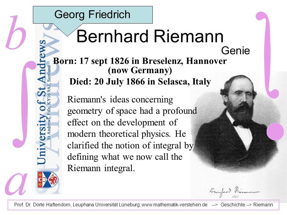 Bernhard Riemann Georg Friedrich Genie
