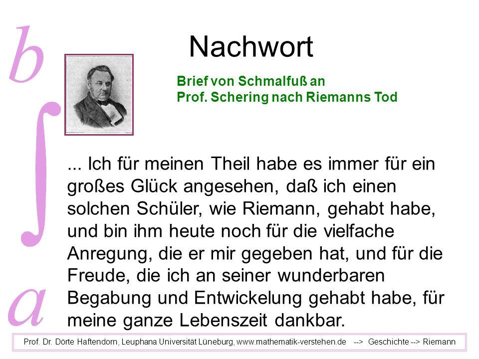 Nachwort Brief von Schmalfuß an. Prof. Schering nach Riemanns Tod.