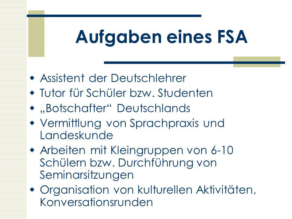 Aufgaben eines FSA Assistent der Deutschlehrer