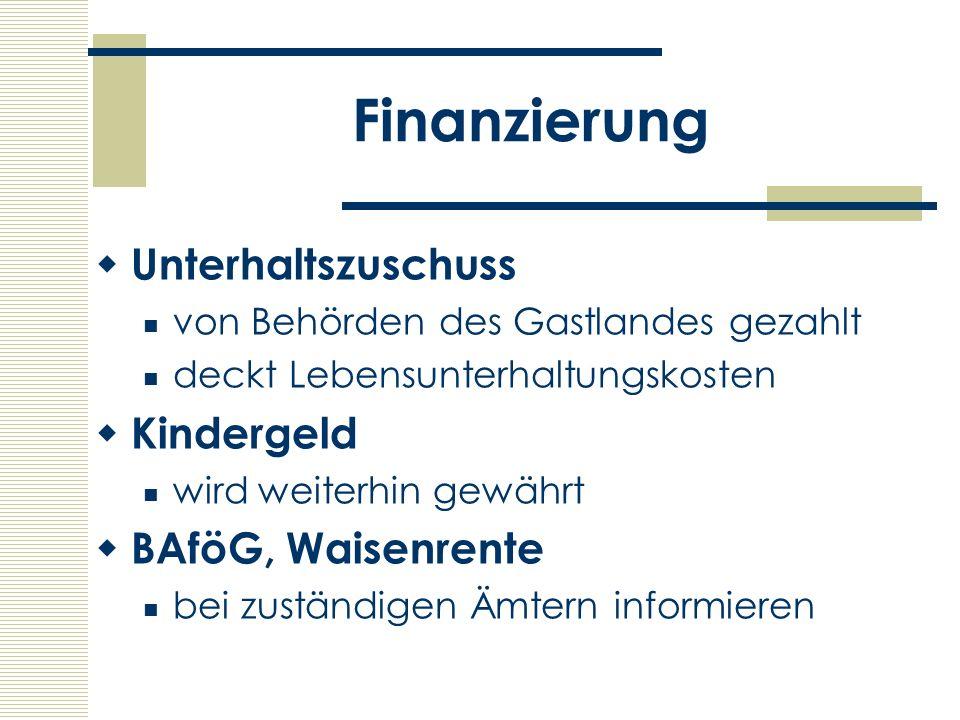 Finanzierung Unterhaltszuschuss Kindergeld BAföG, Waisenrente