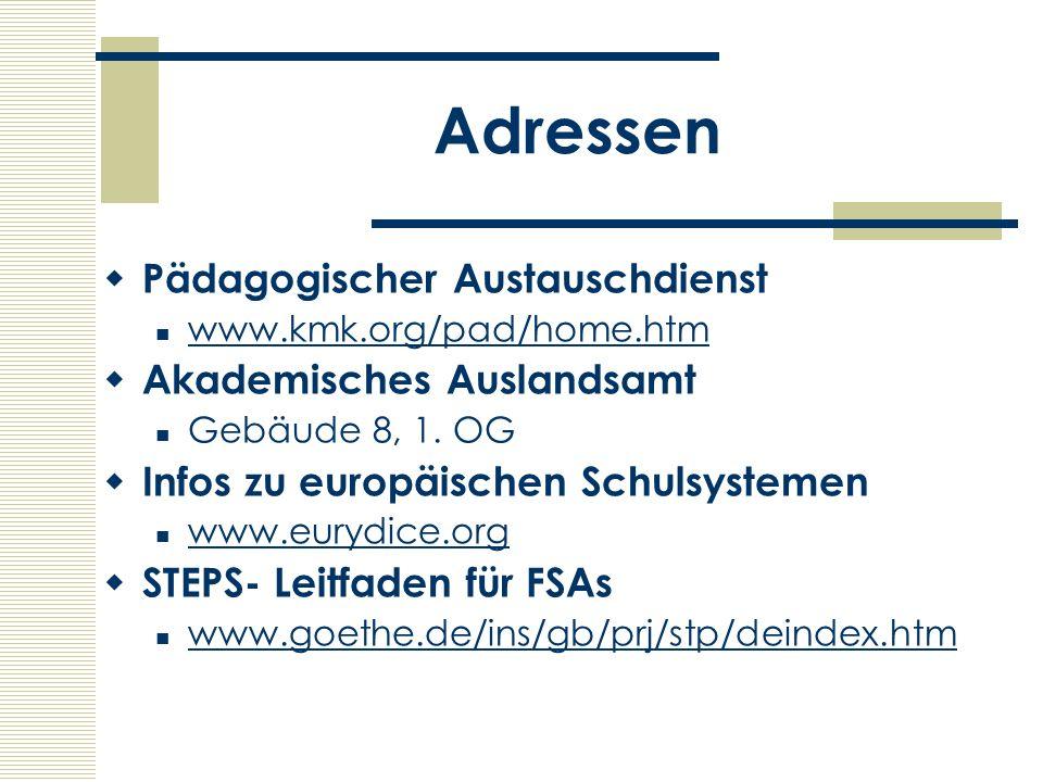 Adressen Pädagogischer Austauschdienst Akademisches Auslandsamt