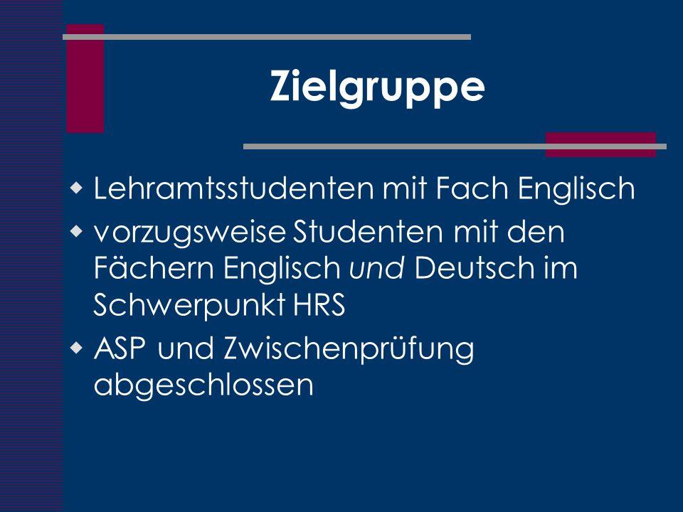 Zielgruppe Lehramtsstudenten mit Fach Englisch