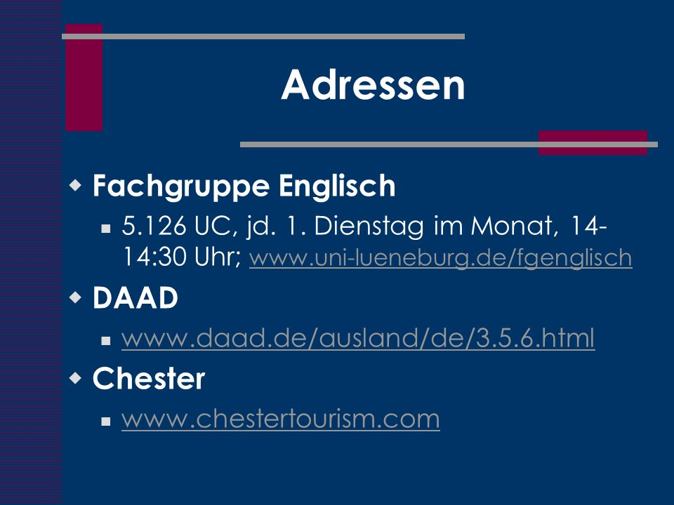 Adressen Fachgruppe Englisch DAAD Chester
