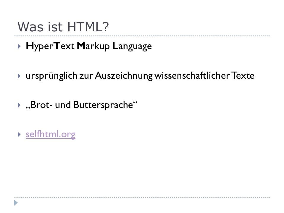 Was ist HTML HyperText Markup Language