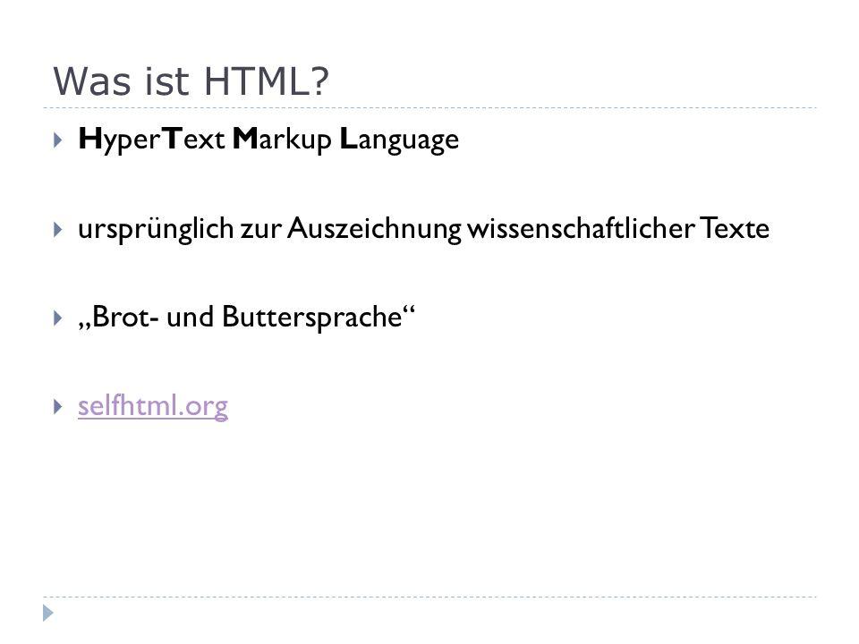 Was ist HTML HyperText Markup Language
