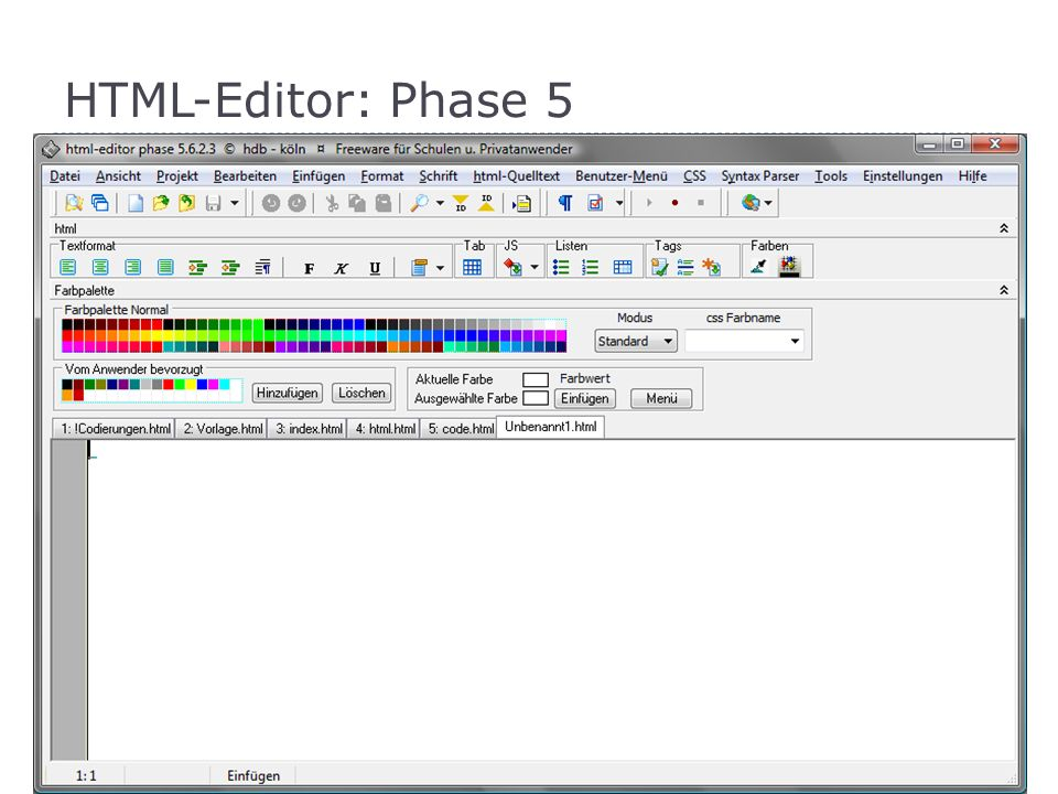 HTML-Editor: Phase 5 Freeware