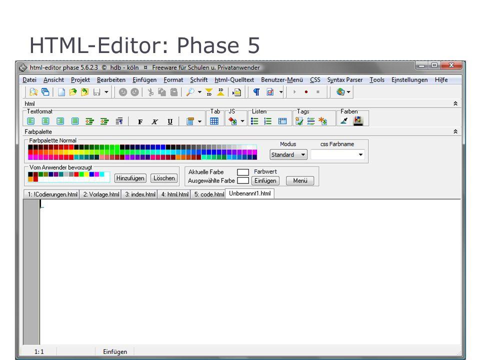 HTML-Editor: Phase 5 Freeware