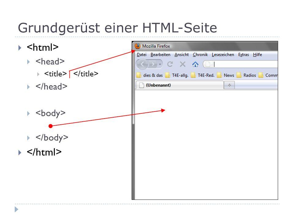 Grundgerüst einer HTML-Seite
