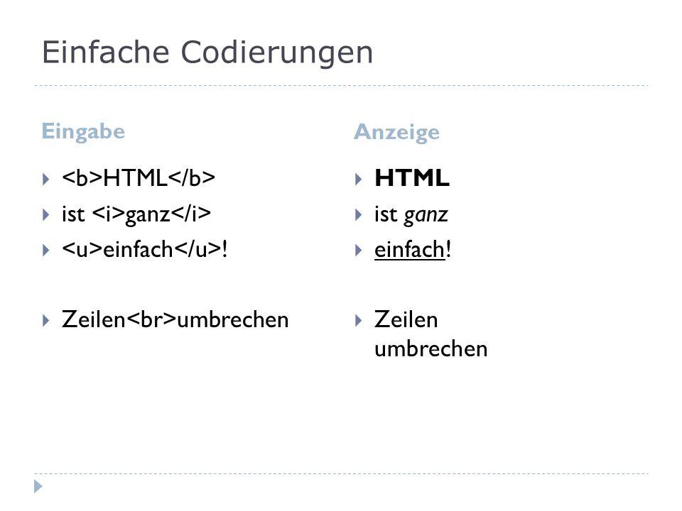 Einfache Codierungen <b>HTML</b>