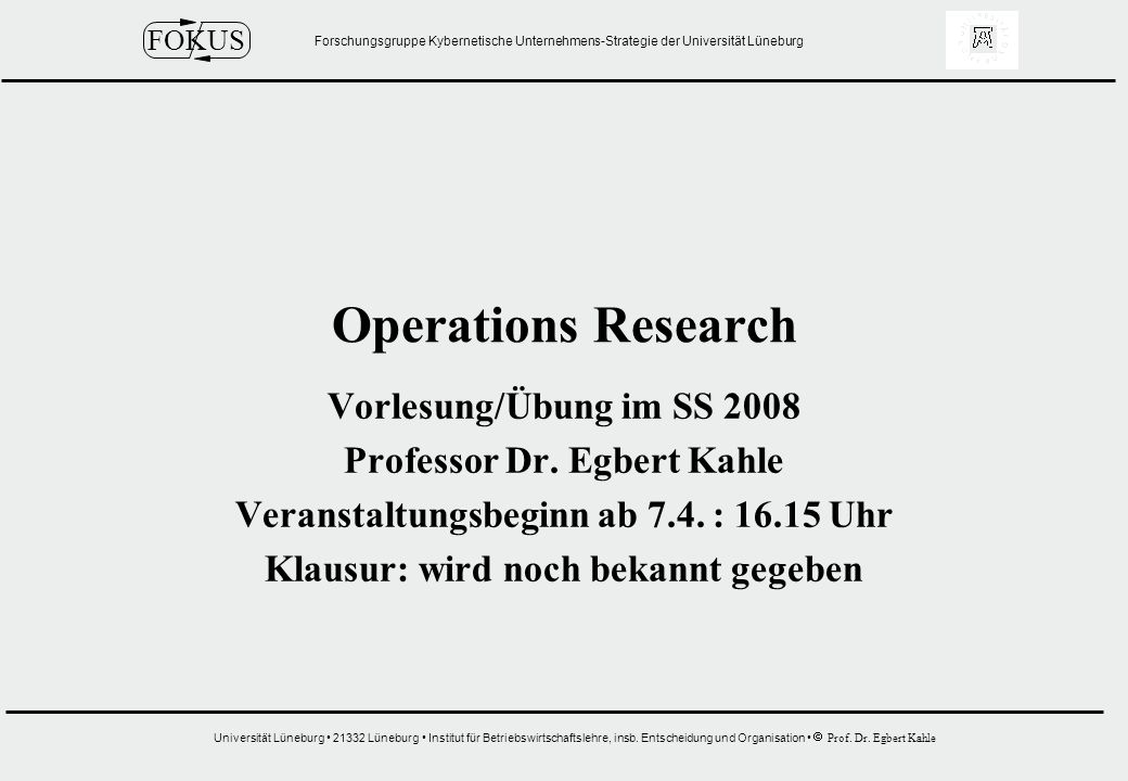 Operations Research Vorlesung/Übung im SS 2008