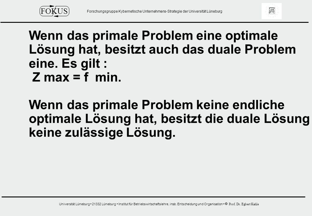Wenn das primale Problem eine optimale