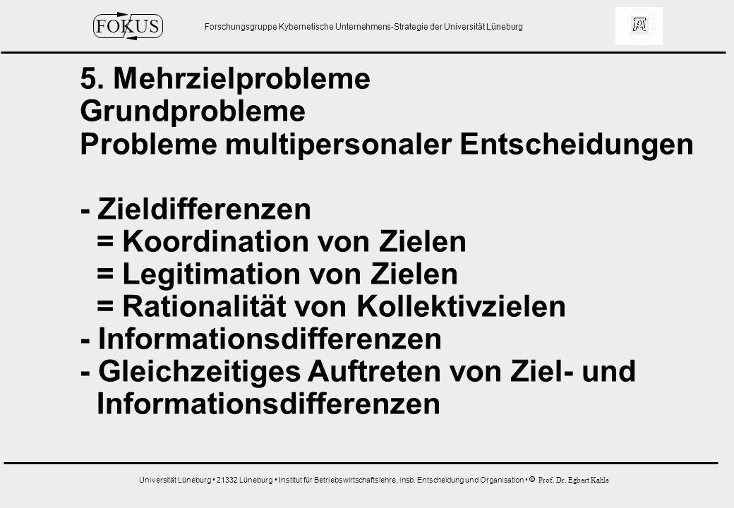 5. Mehrzielprobleme Grundprobleme. Probleme multipersonaler Entscheidungen. - Zieldifferenzen. = Koordination von Zielen.