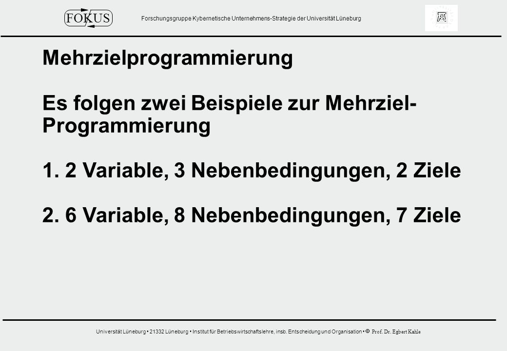 Mehrzielprogrammierung