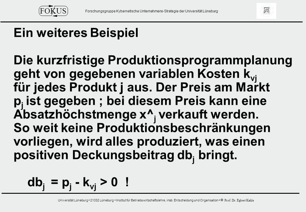 Ein weiteres Beispiel Die kurzfristige Produktionsprogrammplanung. geht von gegebenen variablen Kosten kvj.
