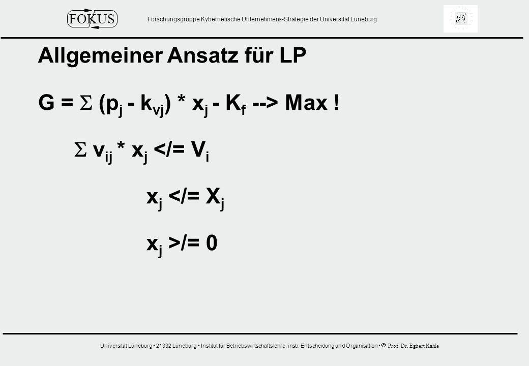 Allgemeiner Ansatz für LP