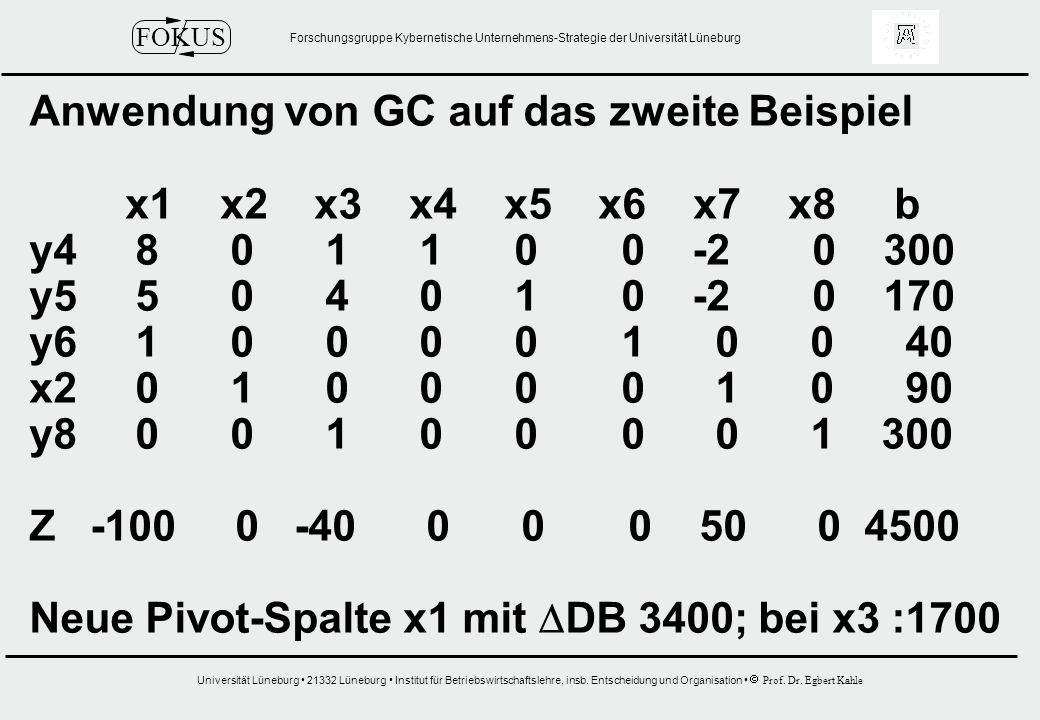 Anwendung von GC auf das zweite Beispiel
