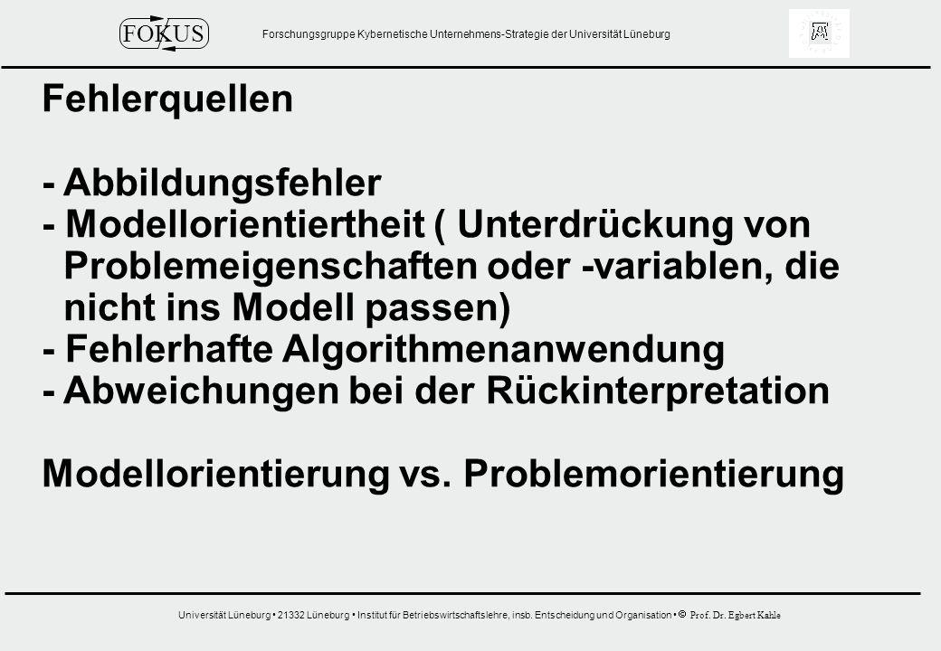 Fehlerquellen - Abbildungsfehler. - Modellorientiertheit ( Unterdrückung von. Problemeigenschaften oder -variablen, die.