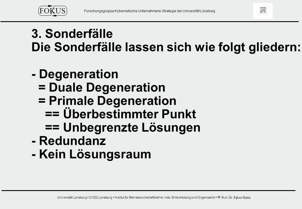 3. Sonderfälle Die Sonderfälle lassen sich wie folgt gliedern: - Degeneration. = Duale Degeneration.