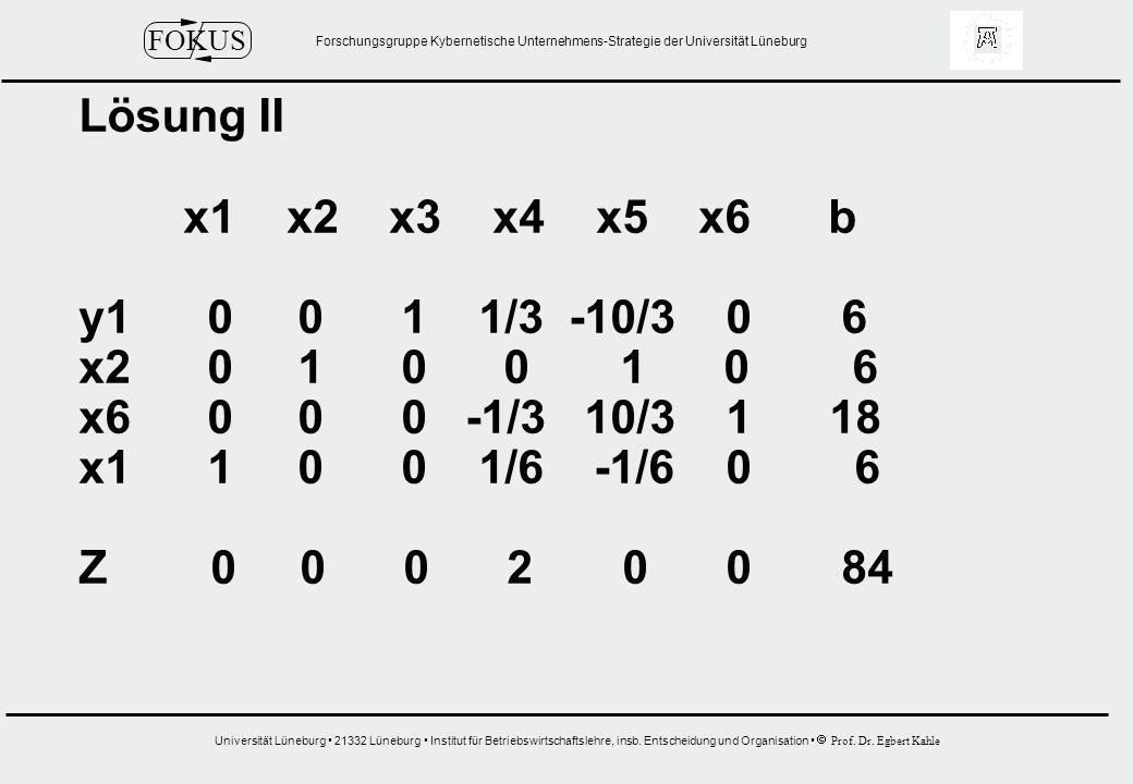 Lösung II x1 x2 x3 x4 x5 x6 b. y1 0 0 1 1/3 -10/3 0 6.