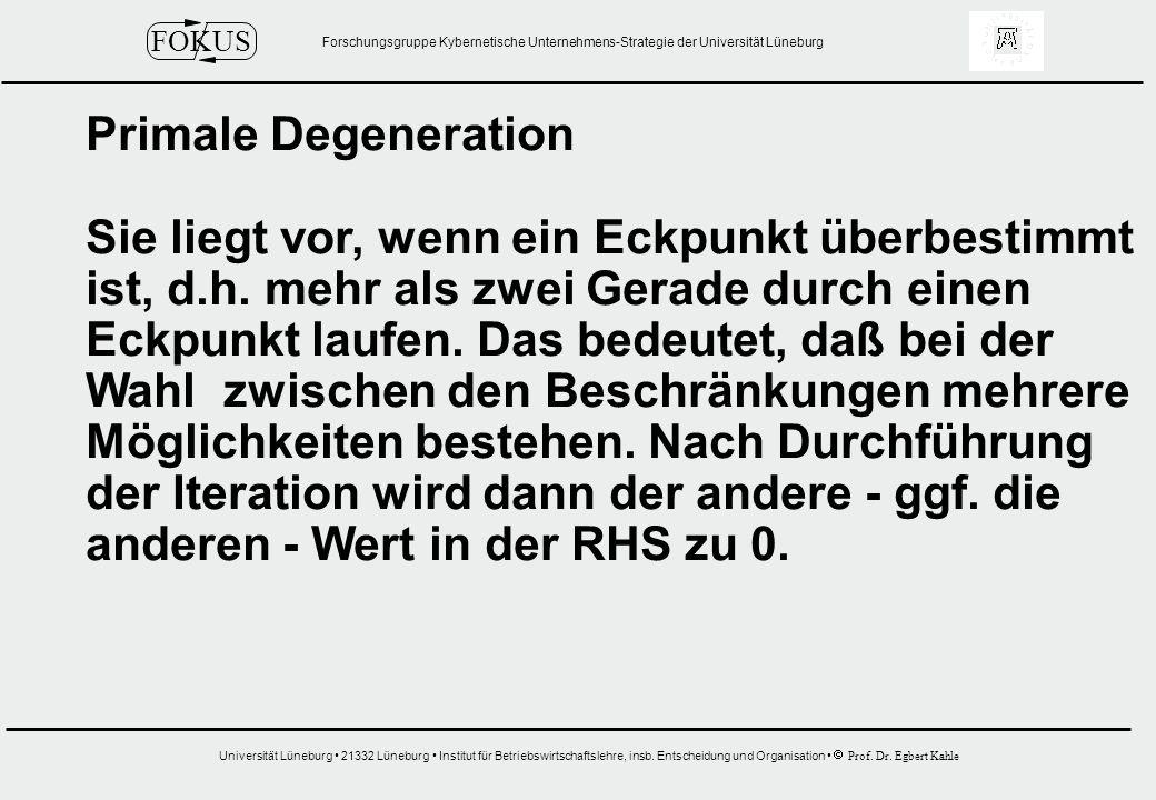 Primale Degeneration Sie liegt vor, wenn ein Eckpunkt überbestimmt. ist, d.h. mehr als zwei Gerade durch einen.