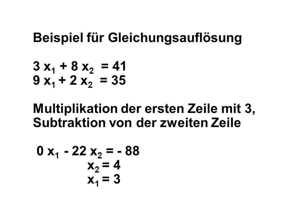 Beispiel für Gleichungsauflösung