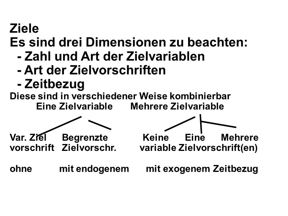 Es sind drei Dimensionen zu beachten: - Zahl und Art der Zielvariablen