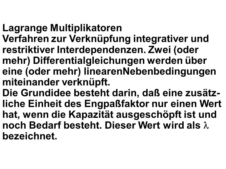 Lagrange Multiplikatoren