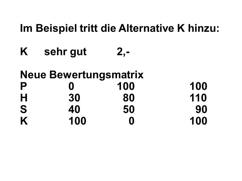 Im Beispiel tritt die Alternative K hinzu: