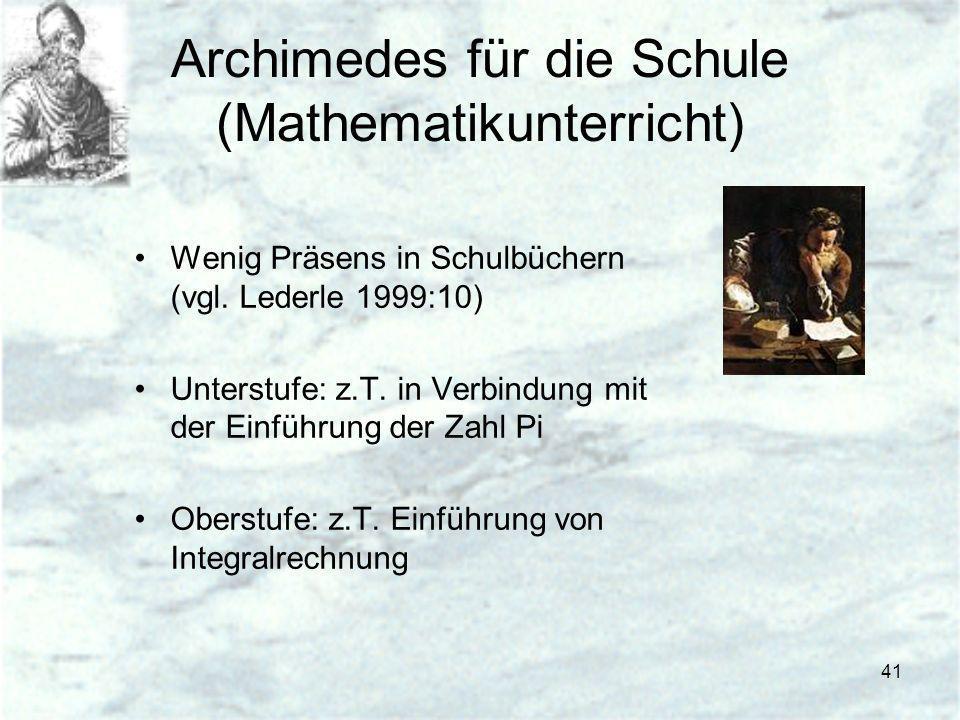 Archimedes für die Schule (Mathematikunterricht)