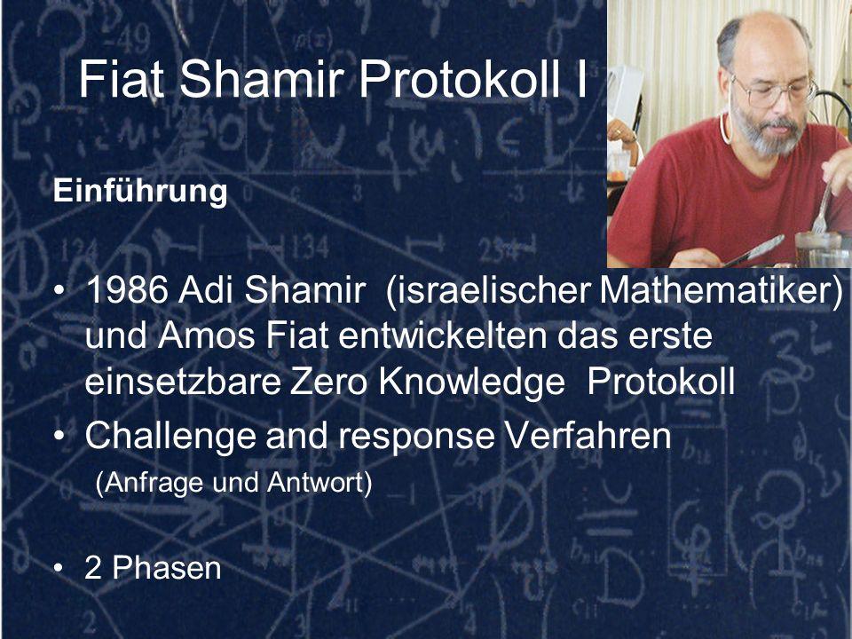 Fiat Shamir Protokoll I