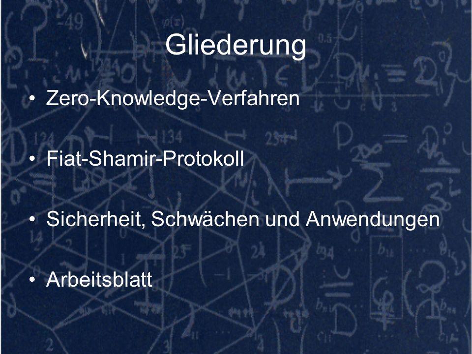 Gliederung Zero-Knowledge-Verfahren Fiat-Shamir-Protokoll