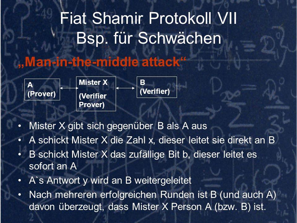 Fiat Shamir Protokoll VII Bsp. für Schwächen