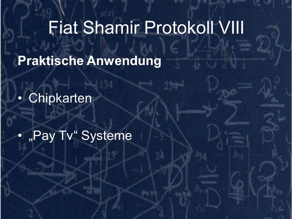 Fiat Shamir Protokoll VIII