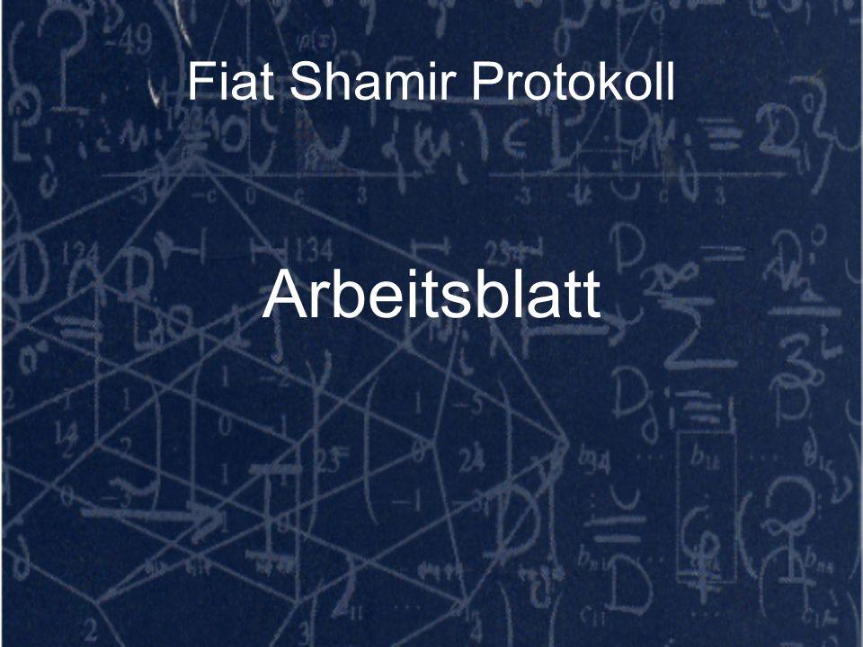 Fiat Shamir Protokoll Arbeitsblatt