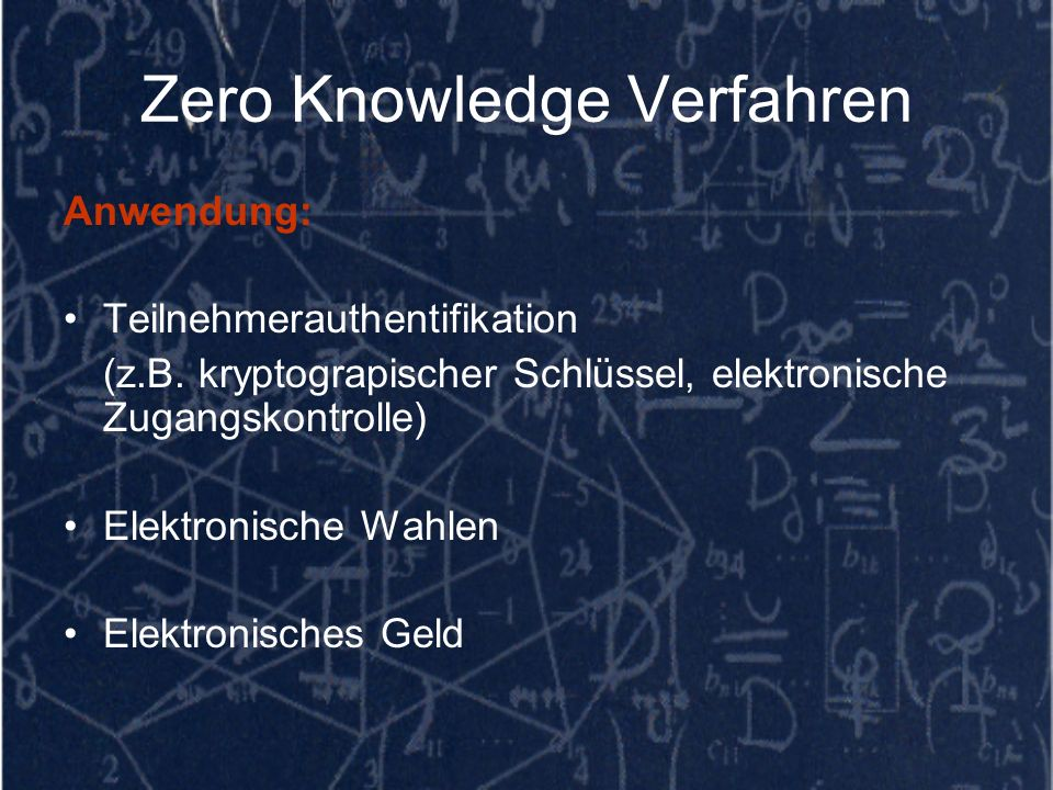 Zero Knowledge Verfahren